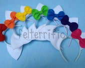Big Party Pack- 16, 18, or 20 Handmade Cat or Mouse Ears with Bow Headband