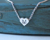 Personalized Sterling Silver Heart Initial Necklace Tiny Simple Minimalist Jewelry Flower Girl Gift Bridesmaid jewelry Flower girl gift