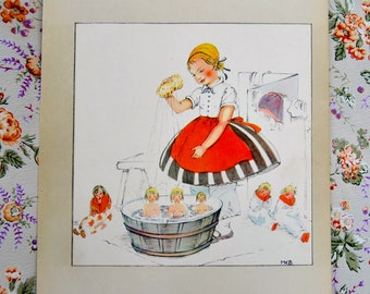 From a sweet book from 1942, a darling Swedish picture by Swedish illustrator. Darling framed.