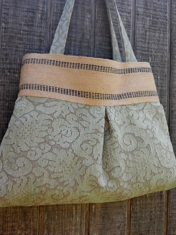 stormy blue and grey tapestry tote with jute by dandelionhoney. Black Bedroom Furniture Sets. Home Design Ideas