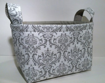 Fabric Storage Basket Bin Organizer Storage Container- Light Gray Damask Print with Solid Light Gray Interior