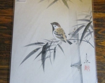 Vintage Chinese Bird Art Ready to Frame Retro Asian Bird Art in Original Packaging