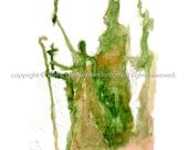 """5""""x 7"""" Watercolor Sketch Print:  """"La Rogativa""""- by Luis E. Aparicio"""