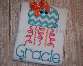 Jellyfish Appliqué shirt- Summer applique shirt- Beach applique shirt