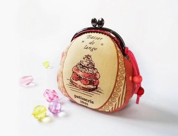 Coin purse / Metal frame purse / Linen purse / 8.5 cm frame purse