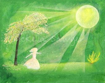 8x10 Art Print-Little Girl Dancing in Green Forest-Spring Art-Tree Painting-Tree Art-Girl's Room