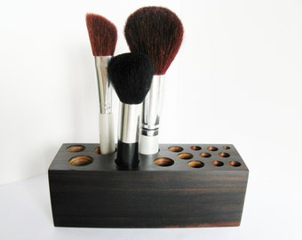 Makeup Brush Holder Rare Rich Dark Exotic Wood
