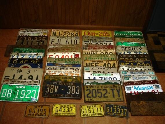 Vintage License Plate Large Lot Dating 1930s thru 1980s