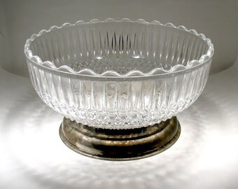 Vintage Pressed Glass Bowl - Silver Plated Steel Foot - Brama - Made in England - Home Decor - Circa 1960-80