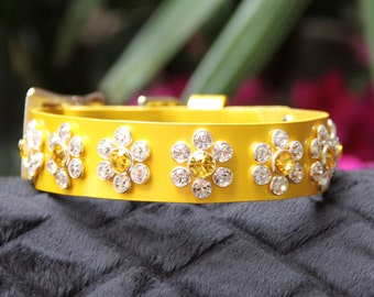 Pineapple Pearl Leather Dog Collar with Swarovski Crystals