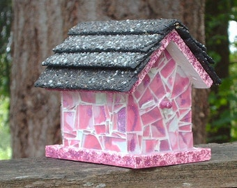 Rose Pink Shattered Mosaic Glass Birdhouse
