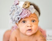 Sariah-Grey and Pink Couture Headband
