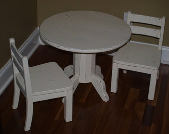 Round Pedestal Childrens Table & Chair Set in 2 color rub finish