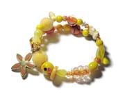 SALE Yellow Rabbit bracelet, glass, floral, ceramic, enamel flower