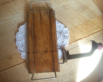 Antique Wood Cheese Slice  Vintage Red Handled primitive rustic kitchen tools
