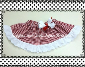 Gingham Ruffled Skirt with Bow -  Many Colors - 6 to 24 months, 2 to 6 years***