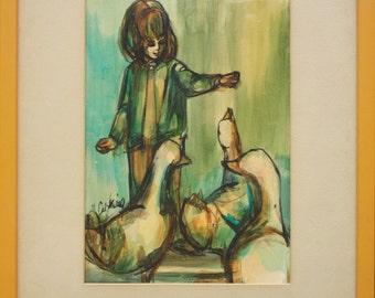 Ducks & Girl Ann Cushing Gantz listed Dallas Texas artist vintage original painting 1 of 2