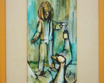 Ducks & Girl Ann Cushing Gantz listed Dallas Texas artist vintage original painting 2 of 2