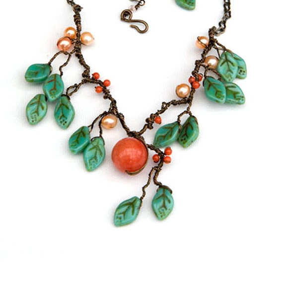 Peach and Green Statement Necklace, Orange Nature Inspired Necklace, Bib Necklace, Woodland Jewelry