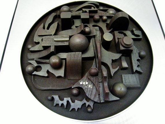 "Brutalist hand made wood and alluminum wall sculpture  artist signed  ""dgb""1976 in the manner of Louise Nevelson ,Paul Evans and Curtis Jere"
