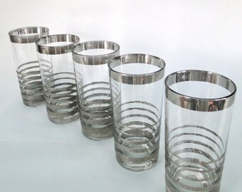 Vintage Glasses Tall Tumbler Silver Mirrored Stripe Dorothy Thorpe Inspired Mad Men Era Bar Ware Hostess Entertaining Sophisticated BarWare