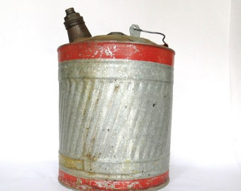 Vintage Gas Can Industrial Sunflower Imprinted Galvanized  Industrial Age Metallic Storage Liquid Container Mid Century Modern Ironsides Red