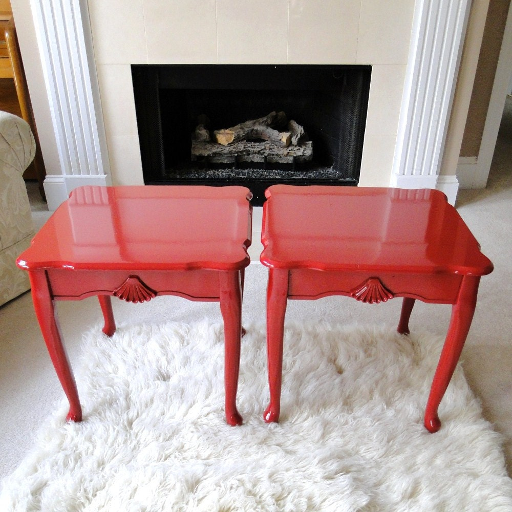 Vintage End Table Lacquer Red Cinnabar Accent Table