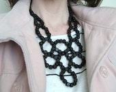 Square Black Wood Beaded Statement Necklace