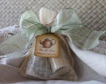 Bridal Shower Favor - Tea Party Favor-Organic Sugar & Tea - Wedding-Bridal Shower-Baby Shower-Belle Savon Vermont