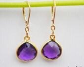 Purple Amethyst earrings, Gemstones earrings, bezel set earrings