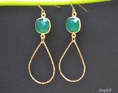 Emerald earrings,loop earring, Gemstones earrings, bezel set earrings
