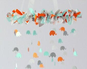 Elephant Nursery Mobile in Aqua, Orange, Gray & White- Nursery Mobile Decor, Baby Shower Gift