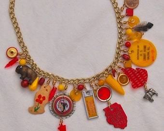 Upcycled Charm Necklace, Illinois,  Assemblage, OOAK , Recycled, Red, Yellow, Kitsch, Found Objects