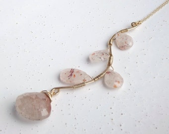 Copper Rutilated Quartz & 14k Gold-Filled Leaves on a Branch Necklace