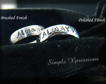 Hand Stamped Jewelry - 5mm Brushed or Polished Finish Name Ring