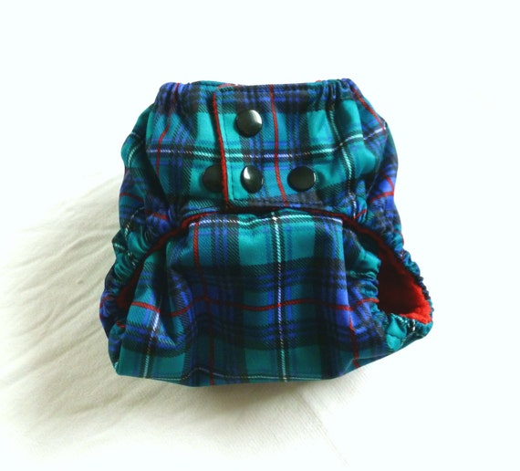 Tartan Plaid One-Size PUL pocket cloth diaper with Microfleece & inserts