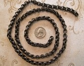 RESERVED FOR Cottager vintage Solid Brass with natural Chocolate patina link Rolo Chain