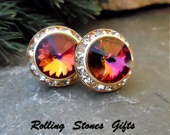 15mm Volcano & Gold Swarovski Surrounds Rhinestone Stud Earrings-Large Color Changing Crystal Stud Earrings-Large Flat Back Stud Earrings