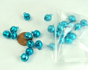 Bells 25 pieces 10mm Blue Aluminum Blue Bell Charm Jewelry Supply Holiday bells ringing bells