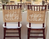 Burlap Wedding Chair signs - Mr and Mrs chair signs -Wedding decorations