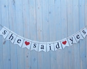 Save the date burlap banner - She said yes burlap banner  - MINI Wedding Banner -  Photography shoot