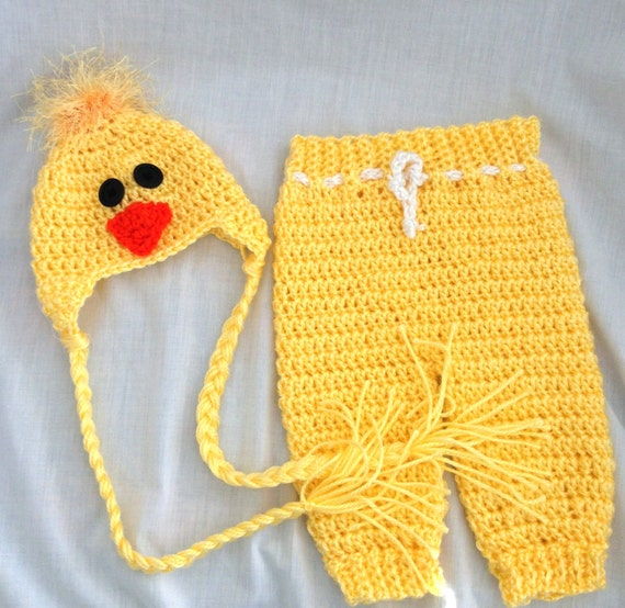 Crochet Baby Hat and Pants Yellow Photo Prop Easter by ...