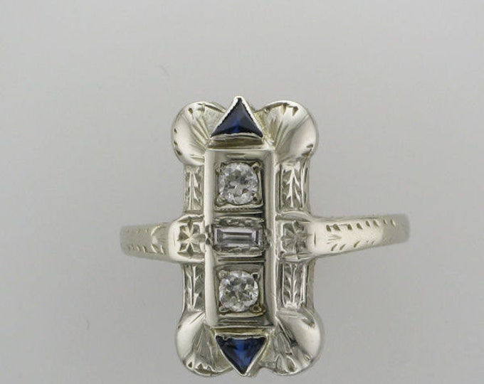 Diamond and Blue Sapphire Ring, Edwardian, Old European Cut Diamond, 18 Karat White Gold, Antique Ring