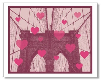 Brooklyn Love Card. Brooklyn Bridge HEARTS Card. New York City Valentine Card. Made in Brooklyn. Handmade & Eco Conscious. I Love You Card