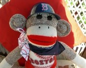 Boston Red Sox Baseball Classic Brown Red Heel Sock Monkey Doll