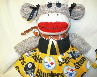 Pittsburg Steelers Football Brown Red Heel Sock Monkey Girl Doll