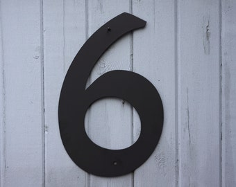 8quot metal house numbers modern powder coated black or for Black metal house letters
