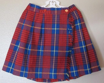 1980's Red and Blue Plaid Skirt By PHASE 1 Size 6X
