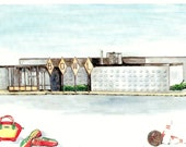 Matted Art Print of Original Watercolor Painting of Vintage Bowling Alley, Pins, Ball, Shoes and Bag