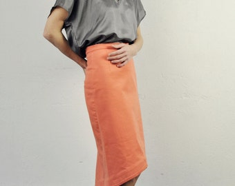 pencil skirt, fashion, tangerine tango, neon orange, with rounded edge